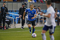 SAN JOSE, CA - MAY 1: Luciano Abecasis #2 of the San Jose Earthquakes during a game between D.C. United and San Jose Earthquakes at PayPal Park on May 1, 2021 in San Jose, California.