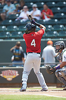 Mario Feliciano (4) of the Carolina Mudcats at bat against the Winston-Salem Dash at BB&T Ballpark on August 4, 2019 in Winston-Salem, North Carolina. The Dash defeated the Mudcats 7-5. (Brian Westerholt/Four Seam Images)