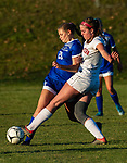 LITCHFIELD, CT-110620S015—Litchfield's Jacquelynn Kenna (20) and Northwestern's Lexi Ayers (21) battle for the ball during their Berkshire League game Friday at Litchfield High School. <br /> Jim Shannon Republican-American