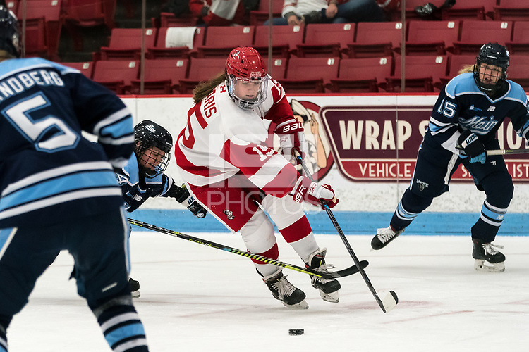 BOSTON, MA - JANUARY 04: Julia Nearis #15 of Boston University on the attack during a game between University of Maine and Boston University at Walter Brown Arena on January 04, 2020 in Boston, Massachusetts.