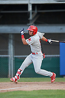 Johnson City Cardinals center fielder Jonatan Machado (51) follows through on a swing during the first game of a doubleheader against the Princeton Rays on August 17, 2018 at Hunnicutt Field in Princeton, Virginia.  Johnson City defeated Princeton 6-4.  (Mike Janes/Four Seam Images)