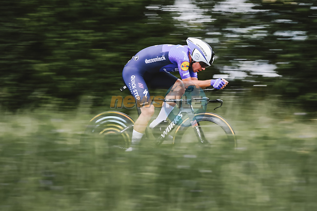 Davide Ballerini (ITA) Deceuninck-Quick Step in action during Stage 5 of the 2021 Tour de France, an individual time trial running 27.2km from Change to Laval, France. 30th June 2021.  <br /> Picture: A.S.O./Pauline Ballet   Cyclefile<br /> <br /> All photos usage must carry mandatory copyright credit (© Cyclefile   A.S.O./Pauline Ballet)
