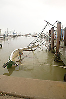 A boat sunk where it was moored due to Hurricane Ike's storm surge, Port of Galveston
