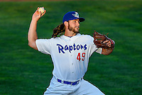 Cameron Palmer (49) of the Ogden Raptors delivers a pitch to the plate against the Grand Junction Rockies in Pioneer League action at Lindquist Field on June 20, 2016 in Ogden, Utah. The Rockies defeated the Raptors 5-2. (Stephen Smith/Four Seam Images)