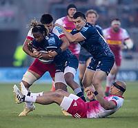 4th June 2021; AJ Bell Stadium, Salford, Lancashire, England; English Premiership Rugby, Sale Sharks versus Harlequins; Marland Yarde of Sale Sharks is tackled