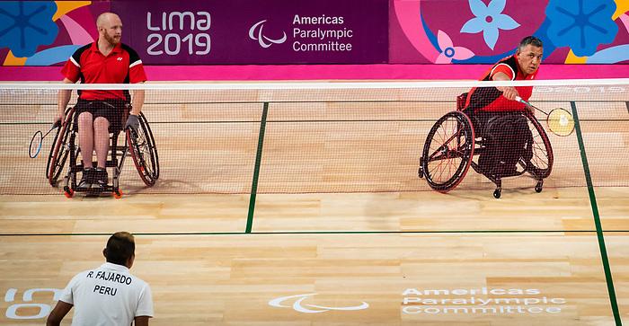 Bernard Lapointe and Richard Peter , Lima 2019 - Para Badminton // Parabadminton.<br /> Bernard Lapointe and Richard Peter compete in men's doubles badminton // Bernard Lapointe et Richard Peter en compétition en double de badminton masculin. 29/08/2019.