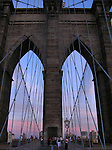 View of Brooklyn Bridge at dusk (New York City).