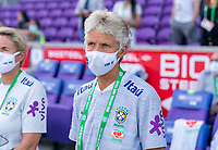 ORLANDO, FL - FEBRUARY 24: Pia Sundhage of Brazil watches her team before a game between Brazil and Canada at Exploria Stadium on February 24, 2021 in Orlando, Florida.