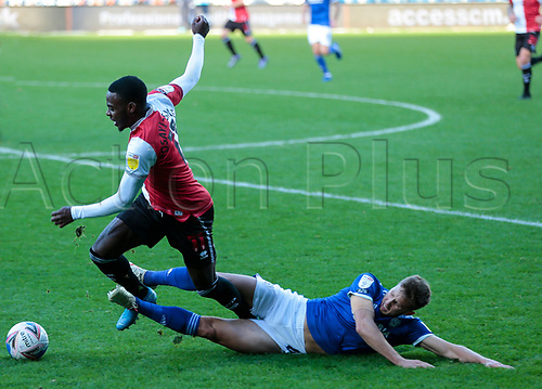 31st October 2020; The Kiyan Prince Foundation Stadium, London, England; English Football League Championship Football, Queen Park Rangers versus Cardiff City; Bright Osayi-Samuel of QPR fouled in a run down the line