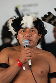 Marci Yanomami speaks at the Indigenous forum about problems his people are experiencing with developments financed by the Brazilian Development Bank. United Nations Conference on Sustainable Development, Rio de Janeiro, Brazil.