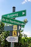 Deutschland, Rheinland-Pfalz, Suedliche Weinstrasse, bei Sankt Martin (Pfalz): Wanderwegweiser in den Weinbergen oberhalb des Weinortes | Germany, Rhineland-Palatinate, Southern Wine Route, Sankt Martin (Pfalz): hiking trail sign post  in the vineyards above the wine village
