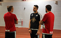 Pictured L-R: Garry Monk, Lukasz Fabianski and Josep Pepe Clotet Tuesday 30 June 2015<br /> Re: Pre-season assessment of Swansea City FC players on the grounds of Swansea University, south Wales, UK