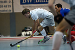 Mannheim, Germany, January 10: During the 1. Bundesliga Herren Hallensaison 2014/15 Sued  hockey match between Mannheimer HC (blue) and Muenchner SC (white) on January 10, 2015 at Irma-Roechling-Halle in Mannheim, Germany. Final score 8-8 (3-5). (Photo by Dirk Markgraf / www.265-images.com) *** Local caption *** Fabian Humpfer #10 of Muenchner SC