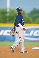 Elizabethton Twins shortstop Nick Gordon (9) on defense against the Burlington Royals at Burlington Athletic Park on June 25, 2014 in Burlington, North Carolina.  The Twins defeated the Royals 8-0. (Brian Westerholt/Four Seam Images)