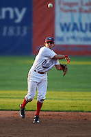 Auburn Doubledays shortstop Angelo La Bruna (5) throws to first during a game against the Williamsport Crosscutters on June 25, 2016 at Falcon Park in Auburn, New York.  Auburn defeated Williamsport 5-4.  (Mike Janes/Four Seam Images)