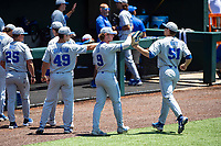 Duke Blue Devils outfielder Peter Matt (51) receives congratulations during the game against the Wright State Raiders in NCAA Regional play on Robert M. Lindsay Field at Lindsey Nelson Stadium on June 5, 2021, in Knoxville, Tennessee. (Danny Parker/Four Seam Images)