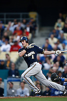 Corey Hart of the Milwaukee Brewers during a game from the 2007 season at Dodger Stadium in Los Angeles, California. (Larry Goren/Four Seam Images)