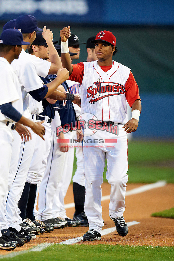 Lowell Spinners designated hitter Dreily Guerrero #11 during introductions before the NY-Penn League All-Star Game at Eastwood Field on August 14, 2012 in Niles, Ohio.  National League defeated the American League 8-1.  (Mike Janes/Four Seam Images)