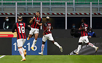 Calcio, Serie A: Inter Milano - AC Milan , Giuseppe Meazza (San Siro) stadium, in Milan, October 17, 2020.<br /> Milan's Zlatan Ibrahimovic (second from left) celebrates after scoring with his teammates  during the Italian Serie A football match between Inter and Milan at Giuseppe Meazza (San Siro) stadium, October 17,  2020.<br /> UPDATE IMAGES PRESS/Isabella Bonotto