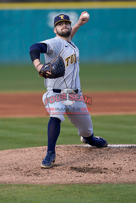 Wyatt Jefferson (34) of the University of Toledo Rockets pitches in a game against the University of South Carolina Upstate Spartans on Friday, February 19, 2021, at Cleveland S. Harley Park in Spartanburg, South Carolina. Upstate won, 14-2. (Tom Priddy/Four Seam Images)