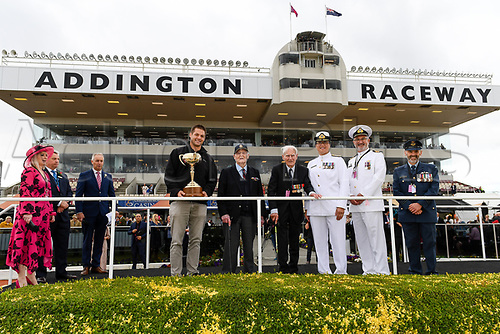 10th November 2020; Christchurch, New Zealand;  Richie McCaw arrives with the NZ Cup and Veterans, Jack Marshall (DFC) and Neil Harton during the NZ Trotting Cup at Addington Raceway, Christchurch, New Zealand