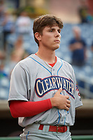 Clearwater Threshers shortstop Nick Maton (6) during the national anthem before a Florida State League game against the Dunedin Blue Jays on April 4, 2019 at Spectrum Field in Clearwater, Florida.  Dunedin defeated Clearwater 11-1.  (Mike Janes/Four Seam Images)