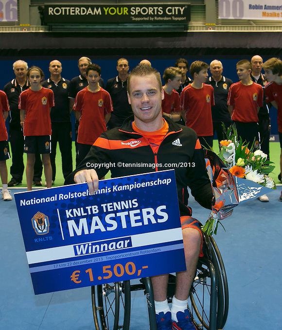 22-12-13,Netherlands, Rotterdam,  Topsportcentrum, Tennis Masters, Wheelchair Final, Maikel Scheffers(NED)    wins the Masters<br /> Photo: Henk Koster