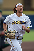Michigan Wolverines outfielder Jordan Brewer (22) in action during the NCAA baseball game against the Michigan State Spartans on May 7, 2019 at Ray Fisher Stadium in Ann Arbor, Michigan. Michigan defeated Michigan State 7-0. (Andrew Woolley/Four Seam Images)