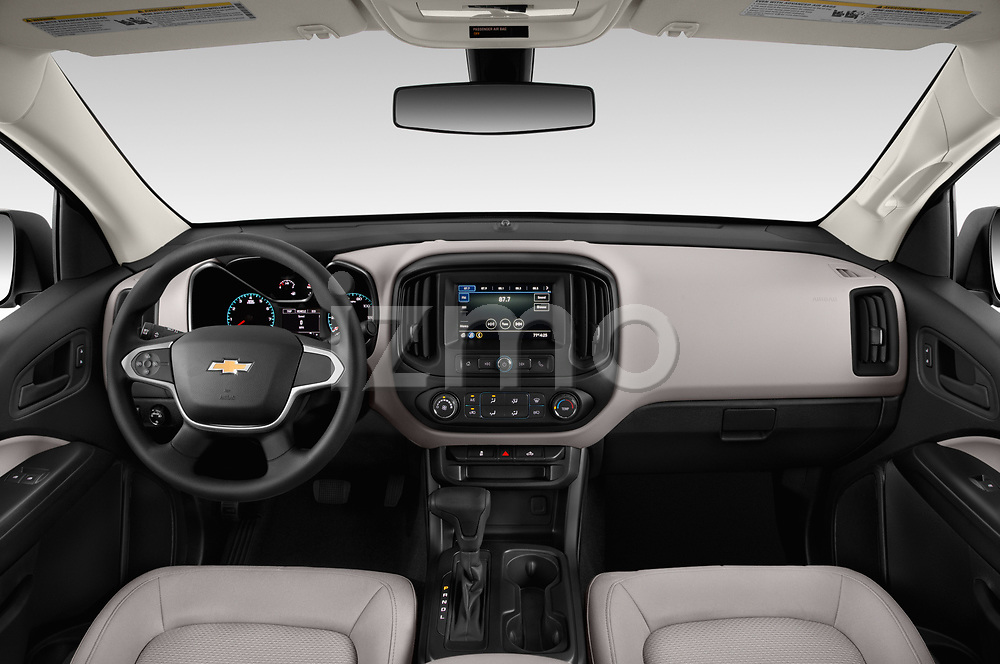 Stock photo of straight dashboard view of a 2019 Chevrolet Colorado WT 4 Door Pick Up