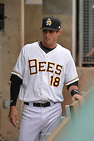 Jimmy Swift (18) of the Salt Lake Bees prior to the game against the Reno Aces at Smith's Ballpark on May 4, 2014 in Salt Lake City, Utah.  (Stephen Smith/Four Seam Images)