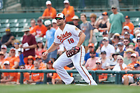 Baltimore Orioles first baseman Chris Davis (19) waits for a throw during a Spring Training exhibition game against the Dominican Republic on March 7, 2017 at Ed Smith Stadium in Sarasota, Florida.  Baltimore defeated the Dominican Republic 5-4.  (Mike Janes/Four Seam Images)
