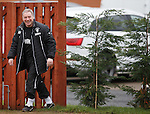 Ally McCoist laughing after hiding in the bushes