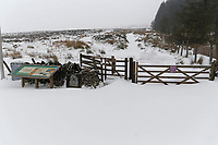 WEATHER PICTURE WALES<br /> Pictured: The gate to the path leading to the summit of Penyfan in Storey Arms, Brecon Beacons in south Wales, UK. Friday 02 March 2018<br /> Re: Beast from the East and Storm Emma has been affecting most parts of the UK.