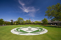 5th June 2021; Dublin, Ohio, USA; The Memorial Tournament Logo on the grass in the player traffic turnaround area during the Memorial Tournament Rd3 at Muirfield Village Golf Club on June 5, 2021 in Dublin, Ohio.