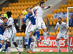 St Johnstone v Inverness Caley Thistle...08.08.15...SPFL..McDiarmid Park, Perth.<br /> Greg Tansey gets above Murray Davidson<br /> Picture by Graeme Hart.<br /> Copyright Perthshire Picture Agency<br /> Tel: 01738 623350  Mobile: 07990 594431