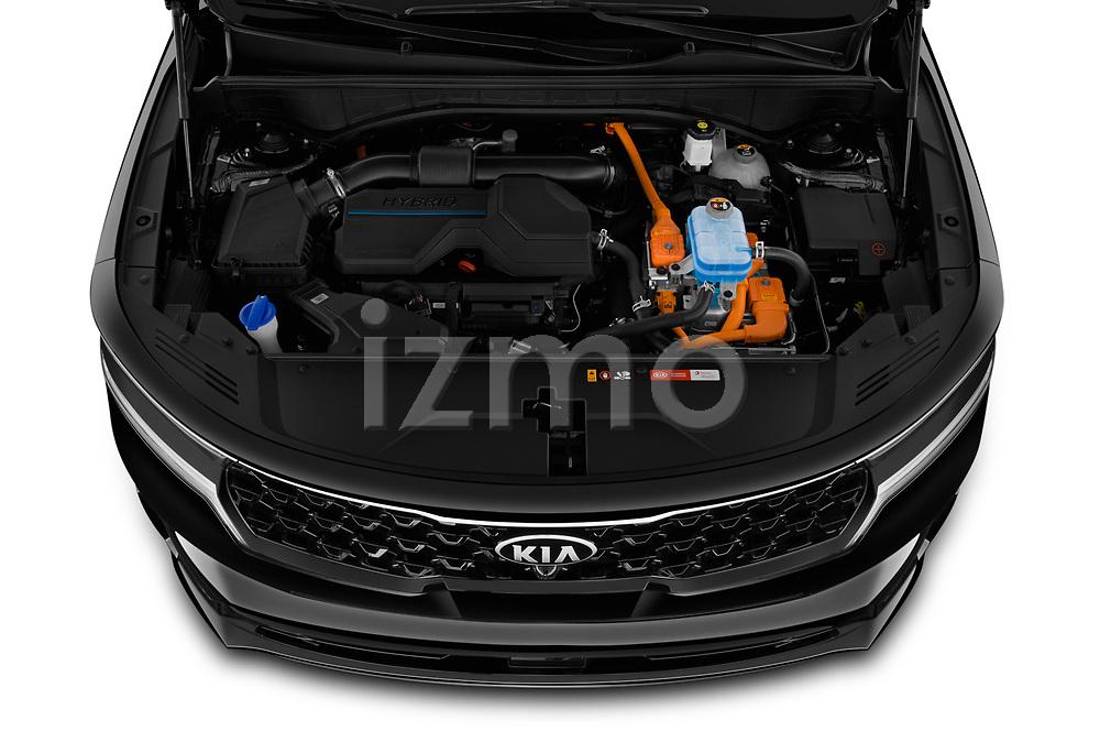 Car Stock 2021 KIA Sorento-Hybride Sense 5 Door SUV Engine  high angle detail view