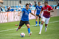 SAN JOSE, CA - APRIL 24: Shea Salinas #6 of the San Jose Earthquakes outpaces Freddy Vargas #17 of FC Dallas during a game between FC Dallas and San Jose Earthquakes at PayPal Park on April 24, 2021 in San Jose, California.