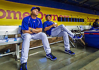 1 April 2016: Toronto Blue Jays hitting coaches Eric Owens and Brook Jacoby sit in the dugout prior to a pre-season exhibition game between the Blue Jays and the Boston Red Sox at Olympic Stadium in Montreal, Quebec, Canada. The Red Sox defeated the Blue Jays 4-2 in the first of two MLB weekend exhibition games, which saw an attendance of 52,682 at the former home on the Montreal Expos. Mandatory Credit: Ed Wolfstein Photo *** RAW (NEF) Image File Available ***