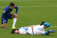 Artem Kasimov of Zenit St Petersburg feels the pain after a challenge from Chelsea's Jude Soonsup-Bell which earned the Chelsea player a yellow card during Chelsea Under-19 vs FC Zenit Under-19, UEFA Youth League Football at Cobham Training Ground on 14th September 2021
