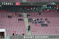 Vereinzelte Fans (insgesamt 300 erlaubt) im RheinEnergie Stadion mit ihren Fahnen<br /> - 07.10.2020: Deutschland vs. Tuerkei, Freundschaftsspiel, RheinEnergie Stadion Koeln<br /> DISCLAIMER: DFB regulations prohibit any use of photographs as image sequences and/or quasi-video.