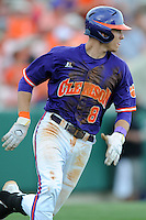 Third Baseman Richie Shaffer #8 runs to first on a double down the left field line to break open a 1-1 tie during a  game against the Miami Hurricanes at Doug Kingsmore Stadium on March 31, 2012 in Clemson, South Carolina. The Tigers won the game 3-1. (Tony Farlow/Four Seam Images).