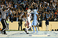 CHAPEL HILL, NC - NOVEMBER 02: Dyami Brown #2 of the University of North Carolina scores his second touchdown in front of De'Vante Cross #15 of the University of Virginia during a game between University of Virginia and University of North Carolina at Kenan Memorial Stadium on November 02, 2019 in Chapel Hill, North Carolina.