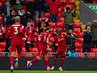 23rd May 2021; Anfield, Liverpool, England; EPL Premier League football, Liverpool versus Crystal Palace:  Liverpool's Sadio Mane celebrates after scoring the first goal in minute 36 during the Premier League match between Liverpool and Crystal Palace at Anfield