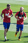 Sergio Ramos and Andres Iniesta during training of the spanish national football team in the city of football of Las Rozas in Madrid, Spain. August 30, 2017. (ALTERPHOTOS/Rodrigo Jimenez)