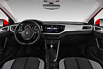 Stock photo of straight dashboard view of a 2018 Volkswagen Polo High Line 5 Door Hatchback