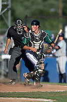 Jamestown Jammers catcher Brian Dice #17 during the first game of a double header against the Hudson Valley Renegades at Russell Diethrick Park on August 6, 2012 in Jamestown, New York.  Hudson Valley defeated Jamestown 4-2.  (Mike Janes/Four Seam Images)