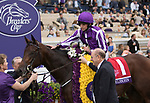 DEL MAR, CA - NOVEMBER 03: Ryan Moore, aboard Mendelssohn #1 enters the winners circle on Day 1 of the 2017 Breeders' Cup World Championships at Del Mar Thoroughbred Club on November 3, 2017 in Del Mar, California. (Photo by Sue Kawczynski/Eclipse Sportswire/Breeders Cup)