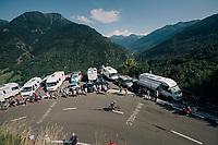 Simon Geschke (DEU/Sunweb) up the final climb of the day (in Spain!): the Col du Portillon (Cat1/1292m)<br /> <br /> Stage 16: Carcassonne > Bagnères-de-Luchon (218km)<br /> <br /> 105th Tour de France 2018<br /> ©kramon