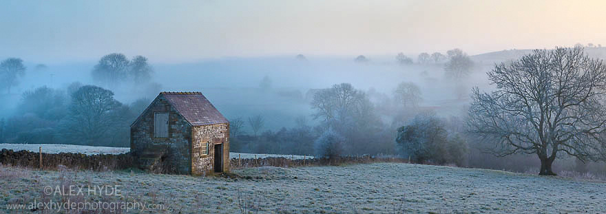 Stone barn at dawn, Bonsall, Peak District National PArk, Derbyshire, UK. March. Digitally stitched panorama.