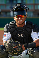 Lansing Lugnuts catcher Gabriel Moreno (23) poses for a photo before a Midwest League game against the Burlington Bees on July 18, 2019 at Cooley Law School Stadium in Lansing, Michigan.  Lansing defeated Burlington 5-4.  (Mike Janes/Four Seam Images)
